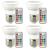 3W LED電球 ビーム電球 ビームランプ マルチカラー電球 E26口金 RGBW 調光 調色可能 電球色 (4個セット)