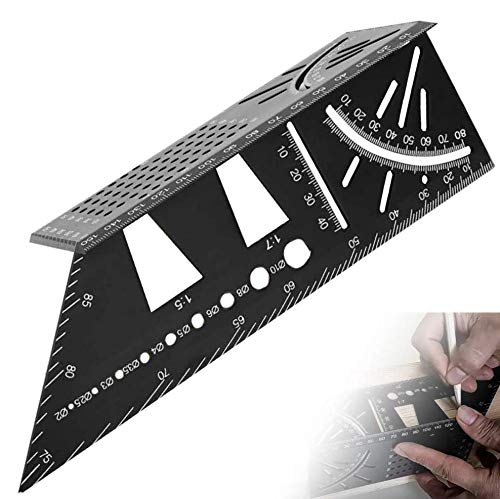 3D Mitre Angle Measuring Template Tool 45°/90° Angle T Shape Dovetail Joint Aluminum Alloy Woodworking Square Size Measure Ruler