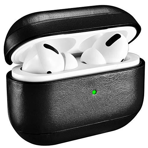 AirPods Pro Case, ICARER Premium Lederen Draagbare Schokbestendige Beschermende Cover voor Apple AirPods Pro AirPods 3 Koptelefoon Opladen Case (LED Zichtbaar) Ondersteuning Draadloos Opladen, Zwart