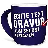 Tasse mit Gravur selbst gestalten - mit eigenem Spruch oder Wunschname gravieren - Keramiktasse außen gummiert - Blau, 300 ml