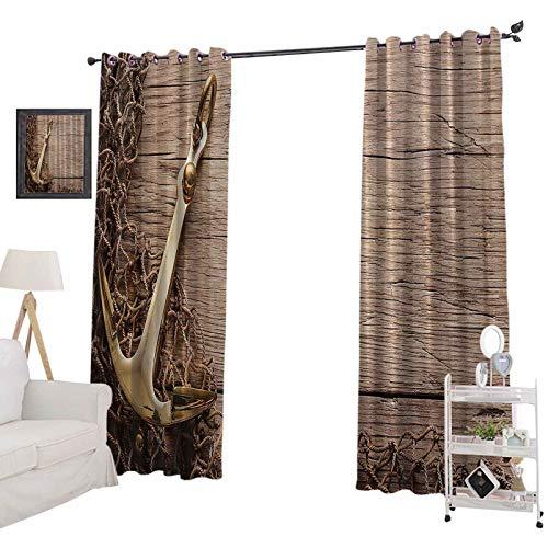 YUAZHOQI cortinas térmicas aisladas decoración rústica con ancla náutica dorada y red de pesca sobre fondo de madera arena, cortinas opacas para dormitorio de 132 x 241 cm, diseño de playa marrón