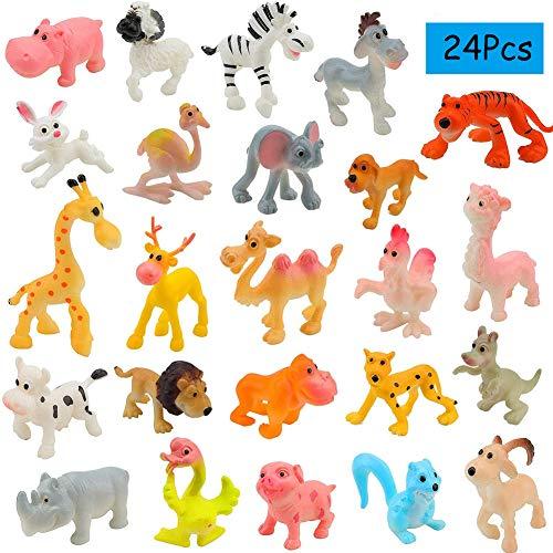 BESTZY Mini Kunststoff Nutztiere 24 Stücke Wilde Dschungeltiere für Kinder Lernen Pädagogisches Spielset Party Favors Badespielzeug Goody Bag Füllstoffe