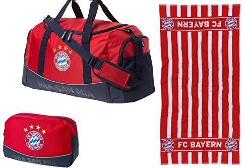 FC Bayern München Set (Sporttasche + Handtuch + Kulturbeutel)