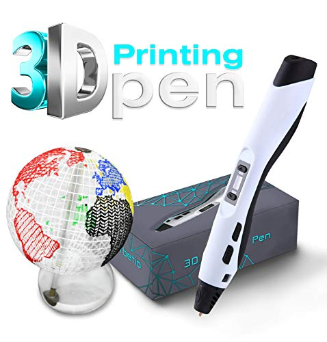 Orbetio 3D Printing Pen for Kids and Adults | LCD Display Screen, 2 PLA Filaments | Doodling, Drawing, Arts, Crafts, Hobbies | Temperature Control, Adjustable Speed (White)
