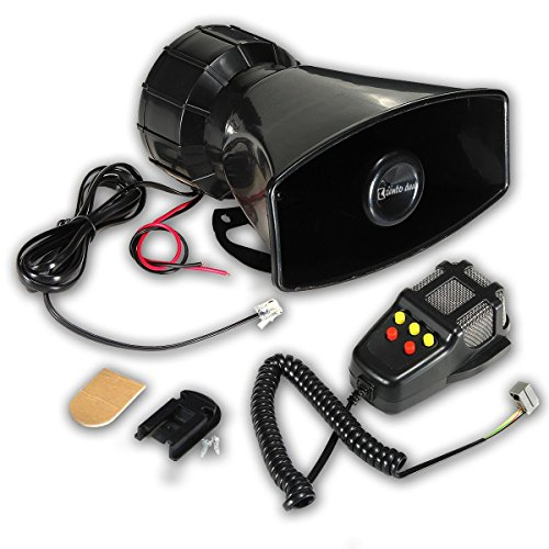 Zento Deals 80W Car Siren Horn Mic PA Speaker System Emergency Sound Amplifier-5 Tones