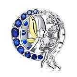 Qings Abalorio Charms de Plata de Ley 925 Ángel Elfo Hada Abalorios con Azul Circonita Cúbica Luna Compatible con Pulseras Europeas y Collar Charms para Niñas Mujer