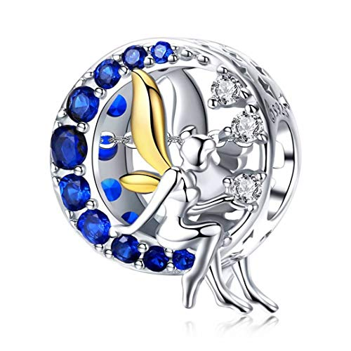 Qings Fairy Pixie Charm Angel Bead Charms Bracelet 925 Sterling Silver, Fairy Pendant Necklace Angel Wings Blue CZ Moon Charms Good Luck Charm Jewelry Gifts for Teen Girls Women