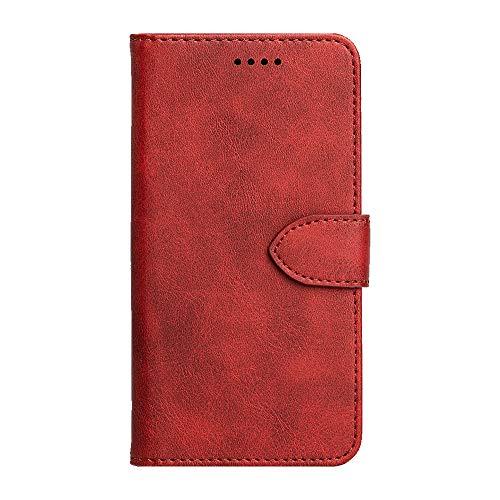 JIUNINE Hülle für Realme 6 / Realme 6S, Handyhülle PU Leder Flip Hülle mit [Kartenfach] [Magnetverschluss] Schutzhülle Tasche Cover Lederhülle für Realme 6 / Realme 6S, Rot