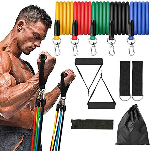 PowerLife 11 Pack Resistance Bands Set Exercise Bands with Door Anchor, Handles, Waterproof Carry Bag, Legs Ankle Straps for Resistance Training, Physical Therapy, Home Workouts