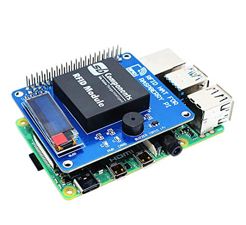 """sb components RFID HAT for Raspberry Pi with 0.91"""" OLED Display, RFID Shield Expansion HAT for Raspberry Pi 4B/3B+/3B/2B/B+/A+/Zero and Zero W, Raspberry Pi RFID Reader & Control Board"""