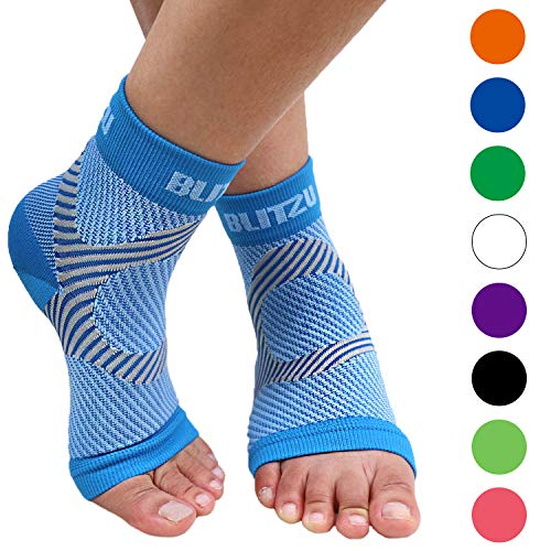 Plantar Fasciitis Socks with Arch Support, Foot Care Compression Sleeve, Eases Swelling & Heel Spurs, Ankle Brace Support, Relieve Pain Fast Blue S-M
