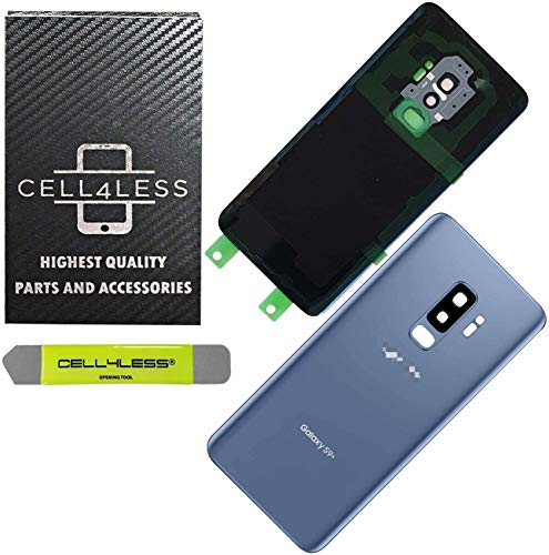 CELL4LESS Compatible Back Glass Cover Back Door w/Pre-Installed Camera Lens - Adhesive-Removal Tool- Camera Lens for Samsung Galaxy S9+ Plus - All Models G965 All Carriers- OEM Replacement (Blue)