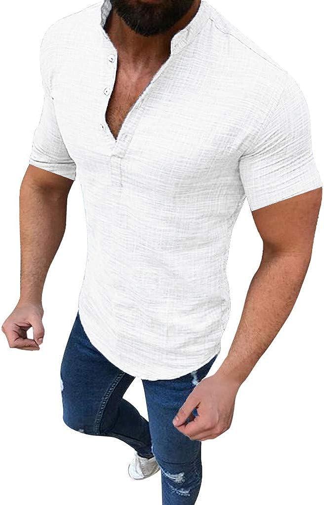 WUAI-Men Henley V-Neck T-Shirts Linen Cotton Button Up Beach Yoga Tops Casual Short Sleeve Collar Plain Shirt
