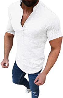 Men Short Sleeve Solid Shirt Tops, Male Sport Fitness Slim T-shirt Fashion Button Tee Shirt Blouse Tunic Tops