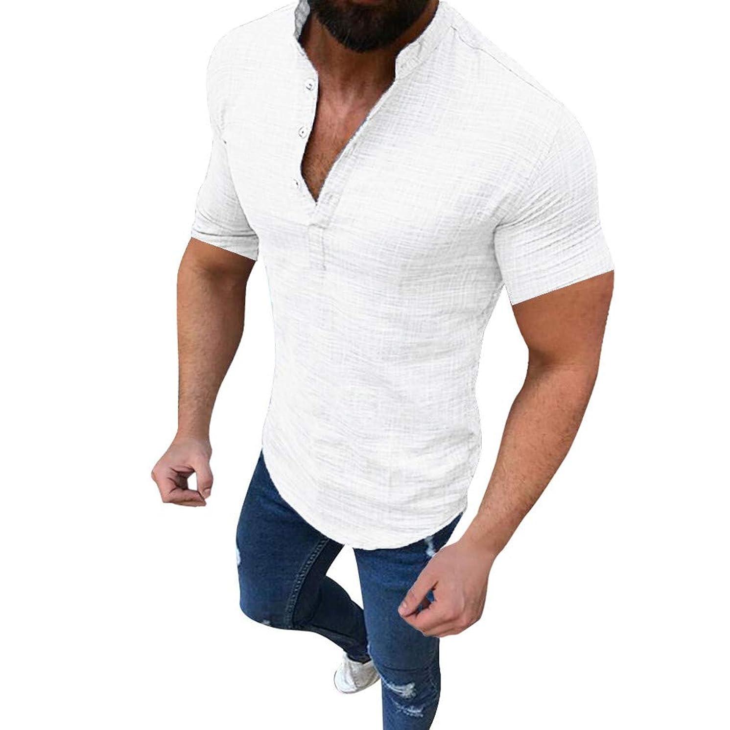 Mens Short Sleeve Henley Shirt Cotton Linen Beach Yoga Loose Fit Casual Work Shirt Tops