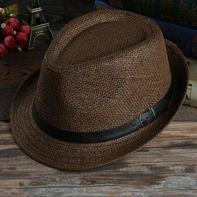GPQHSM Gorra Playa Pata Sol Sombreros con Estilo Mujeres Hombres Panama Jazz Sombreros Vaquero gángster Gorra con Cinturones de Ventas de cinturón Negro Sombreros y Gorras (Color : 2, Size : 55-58cm)