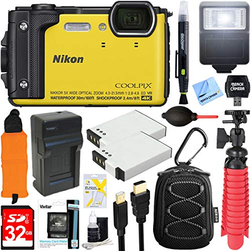 Nikon COOLPIX W300 16MP 4k Ultra HD Waterproof Digital Camera (Yellow) + 32GB Memory & Flash Deluxe Accessory Bundle