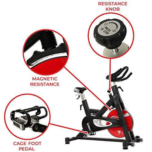 Sunny Health & Fitness Evolution Pro Magnetic Indoor Exercise Bike, Massive 44 lb Flywheel, Sturdy 330 lb Max Weight and 4 - Way Adjustable Seat / Handlebar - SF-B1714