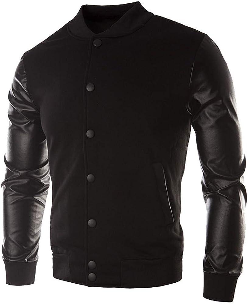 iYBUIA Autumn Winter Men Patchwork Casual Button Jacket Coat Leather Sportswear Top Blouse