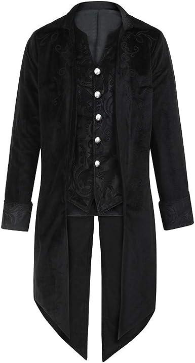 SHOBDW Moda para Hombre Tallas Grandes de Manga Larga Esmoquin Goth Steampunk Uniforme del Partido del Partido Chaquetas Cardigans Outwear Invierno ...
