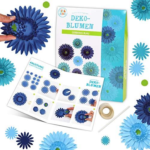 Bastelset Blumen (Gerberas blau) Bastelset Kinder l einfach und kreativ Papier Blumen basteln für Mädchen und Jungen l Bastel Set ab 4 Jahren l Schöne Beschäftigung für Kindergeburtstag l Kreativ Set