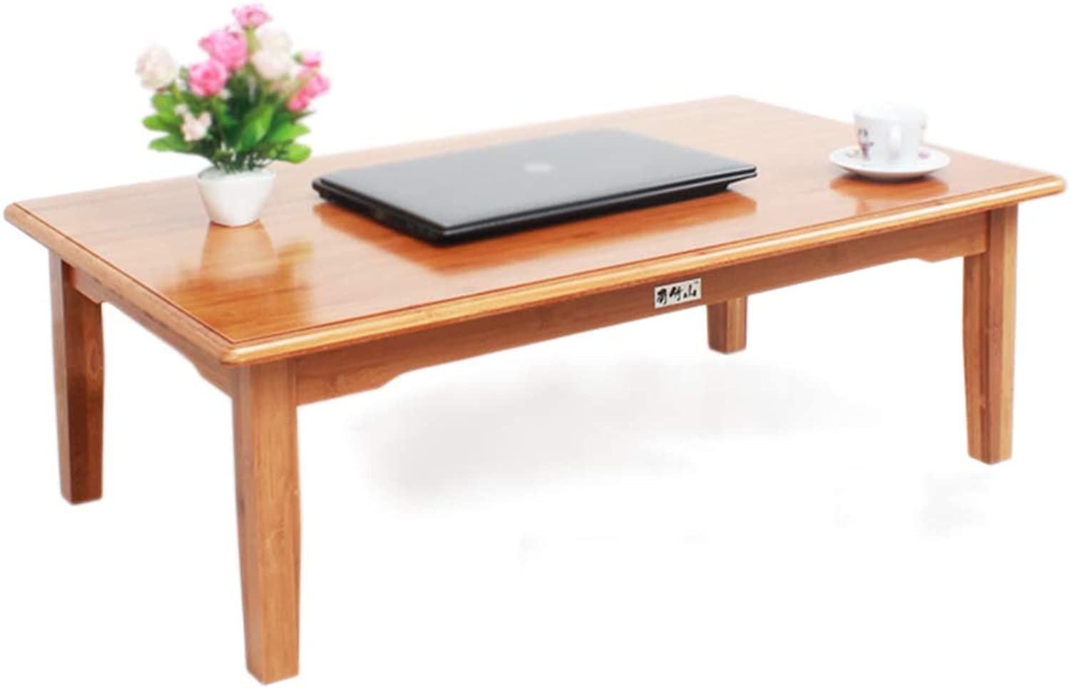 Tea Table Tatami Bamboo Table Home Large Modern Minimalist Rectangular Short Table Bay Window Table Solid Wood Coffee Table Table (color   Brown, Size   80  60  32cm)