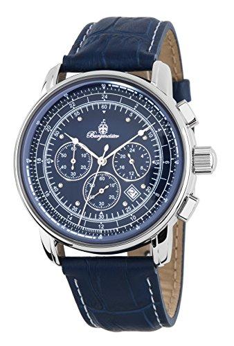 Burgmeister Armbanduhr für Herren mit Analog-Anzeige, Chronograph und Lederarmband - Wasserdichte Herrenarmbanduhr mit zeitlosem, schickem Design - klassische Uhr für Männer - BM332-133 Tessin