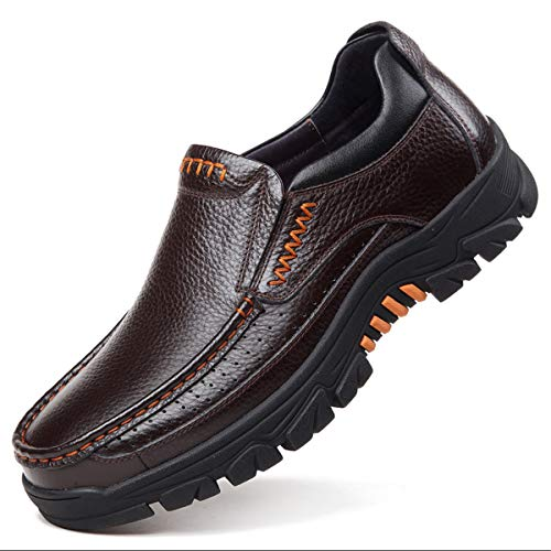 gracosy Mens Loafer Flats Slip On Loafers Leather Casual Walking Shoes Comfort for Business Work Office Dress Outdoor Summer Fashion Driving Boat Shoe Anti Slip Moccasins Wide Fit Brown 8.5 UK