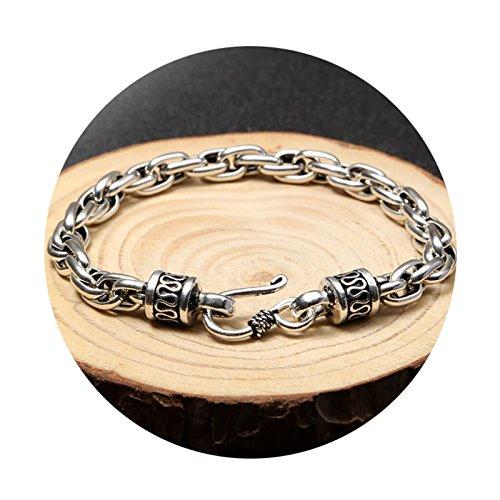 KnSam Bracelet Punk Homme Argent 925 Gourmette Personnalité 200 * 6MM