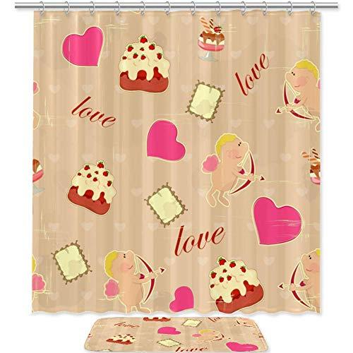 TIZORAX Liebe Kuchen & Herz Bad Duschvorhang Set mit rutschfesten Badezimmer Teppiche Bodenmatte Home Decoration
