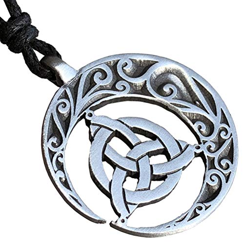 Celtic Knot Jewelry Crescent Moon Triquetra Pagan Magic Wicca Witchcraft Pewter Men's Women's Pendant Necklace Lucky Charm Protection Amulet Wealth Talisman Medallion for men women w Adjustable Cord