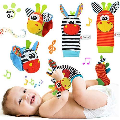 4 Piezas Juguetes de Sonajero para Bebés, Lindo Animales Pies Calcetines y Muñeca Muñequeras, Juguetes de Peluches de Desarrollo para bebés, Suaves y...