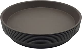 LUXEHOME 8 Inch Plant Saucers for Indoor and Outdoor Gardening, Durable and Sturdy Planter Trays with Extra Thick Base and Enough Depth to Gather Excess Water, Chocolate Color, 10 Pack