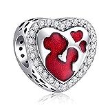 Annmors Abalorios Charms Colgantes de En forma de corazon Charms Cuentas Plata de Ley 925 con Compatible con Pulsera Pandora & Europeo