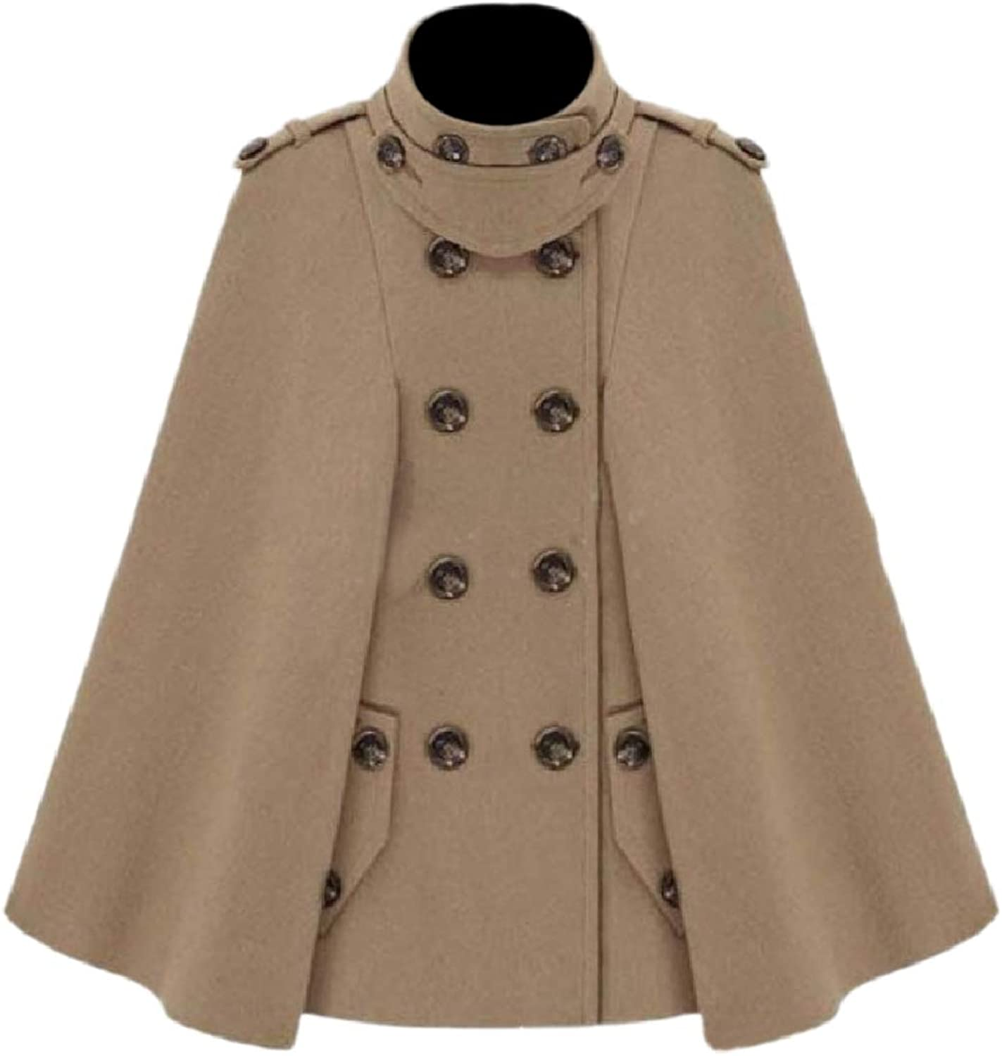 Tryist Womens DoubleBreasted Cashmere Classic Wool Poncho Walker Coat
