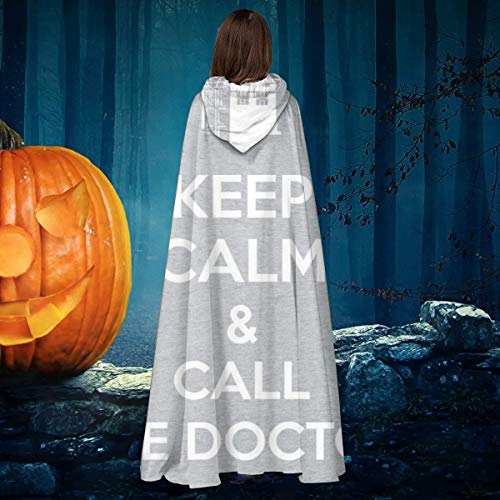 AISFGBJ Disfraz de caballero bruja con capucha con texto en ingls 'Keep Calm And Call The Doctor Who', disfraz de vampiros