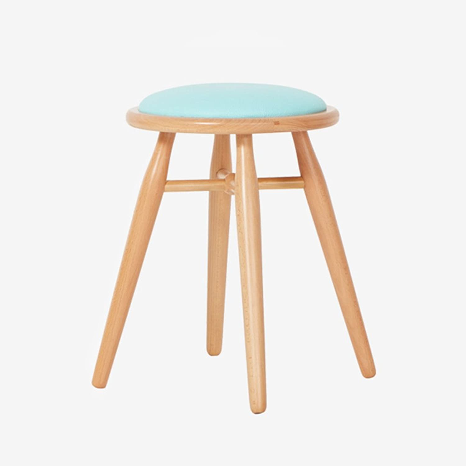 LHA Barstools Multifunctional Stool Kitchen Dining Chair Stool shoes Bench Retro Wooden Chair Linen Fabric Seat Bar Furniture (color   bluee)