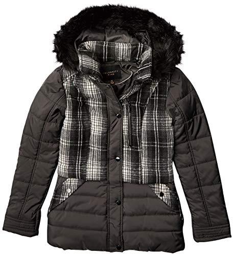 Celebrity Pink Junior's - Puffer de longitud media con lana, Cuadros grises, XS