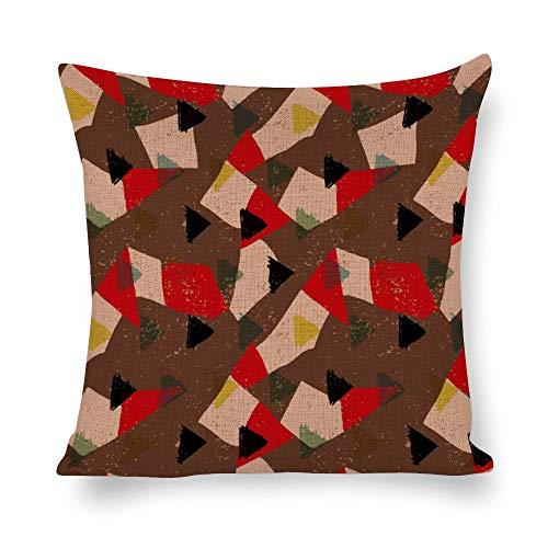 Juego de fundas de almohada sin marca de 18 x 18 cm, patrón abstracto triangular para granja, oficina, dormitorio, sala de estar, sala de juegos, sala de estudio, comedor, cocina