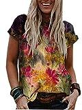 Camisetas Estampadas con Cuello En V De Verano Mangas Cortas