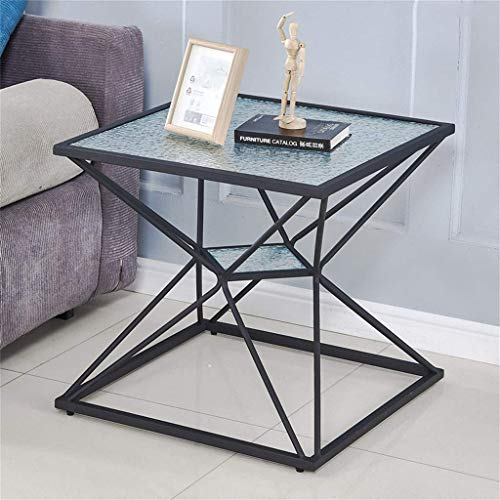 XJZKA Side Table End Table Bedside Table Sofa Table Slim Coffee Table with Metal Frame Storage Unit Glass Gold and Black