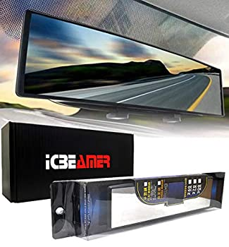 ICBEAMER 10.6  270mm Easy Clip on Wide Angle Panoramic Blind Spot Fit Auto Interior Rearview Mirror Convex Clear Surface