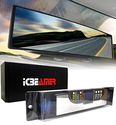 ICBEAMER 10.6' 270mm Easy Clip on Wide Angle Panoramic Blind Spot Fit Auto Interior Rearview Mirror Convex Clear Surface