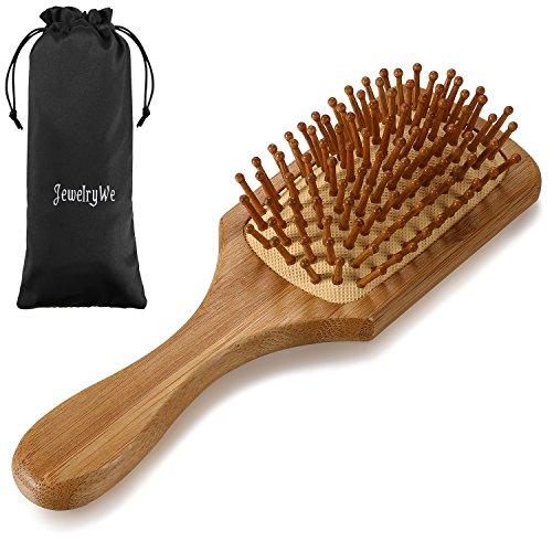 JewelryWe Brosse à cheveux en bambou et picots en bois à pointes arrondis Peigne