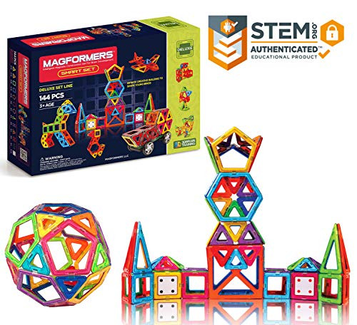 Magformers Smart Set (144-piece ), Deluxe Building Set. Magnetic Building Blocks, Educational Magnetic Tiles, Magnetic Building STEM Toy Set