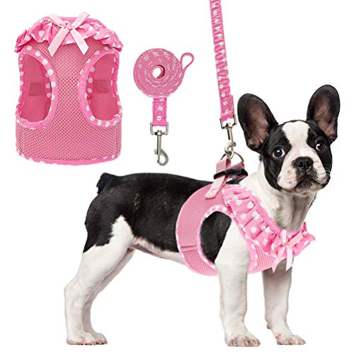 PUPTECK Cute Pink Pet Harness for Small Puppy Cats and Medium Doggies Girl Running and Training Indoor and Outdoor, with Breathable Mesh