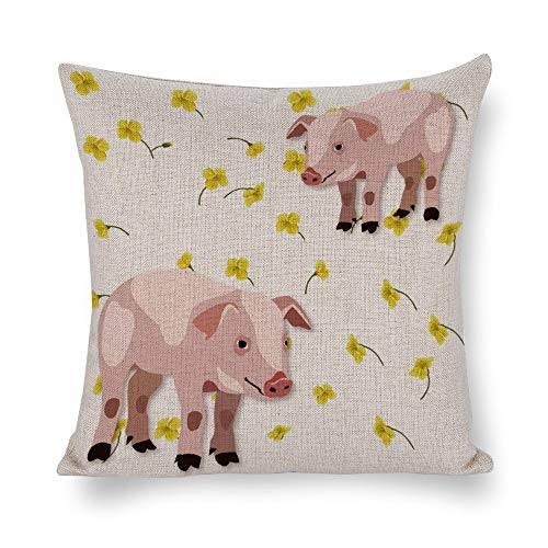 Funda de almohada de algodón y cáñamo individual, dos cerdos rosa tímido, con pequeñas flores amarillas, funda de cojín, funda de almohada corporal, funda de almohada, almohada de sofá, almohada decorativa para cama o sofá, estilo1, 19.7*19.7in