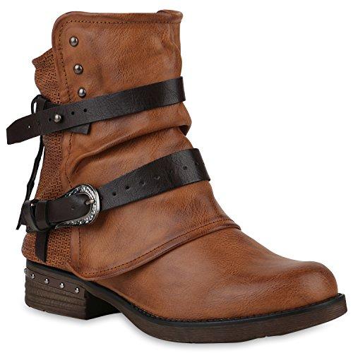 Damen Stiefeletten Biker Boots Leicht Gefütterte Booties Schnallen Schuhe 147633 Hellbraun Nieten 39 Flandell