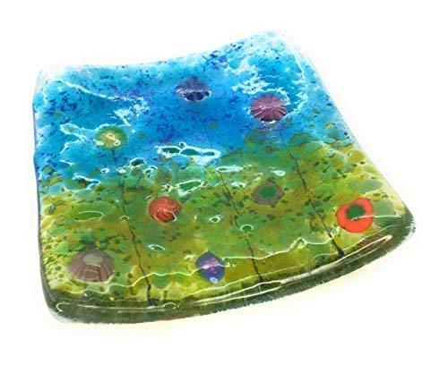 Millefiori Fleurs Fusionné à bijoux en verre plat – Multicolore – Fait à la main en East Sussex – Idéal pour bougies chauffe-plat, bijoux, Snacks, clés,