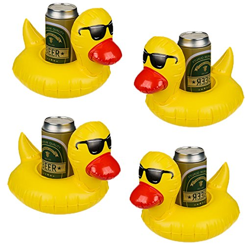 Bada Bing 4er Set Aufblasbarer Getränkehalter Badeente Ente Gummiente Gelb Mit Cooler Sonnenbrille Getränkedosenhalter Dosenhalter 80